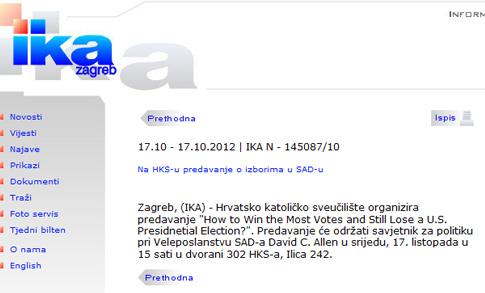 IKA: Na HKS-u predavanje o izborima u SAD-u