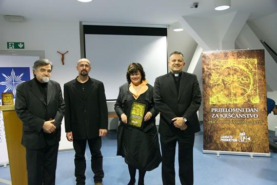 """Projekcija filma """"Milanski edikt"""" - Josip Botteri Dini, Jerko Ban, Ksenija Abramović i rektor Željko Tanjić"""