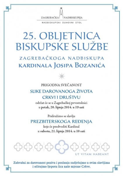 25. obljetnica biskupske službe zagrebačkog nadbiskupa kardinala Josipa Bozanića