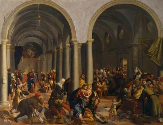 Stjepan Crnota: Izgon trgovaca iz hrama, 1535., ulje na platnu