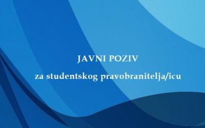 JAVNI POZIV za studentskog pravobranitelja/icu