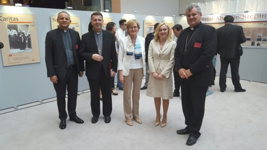 Rektor Tanjić, mons. Šaško, potpredsjednica Eu parlamenta Mairead McGuinness, Marijna Petir i mons. Košić