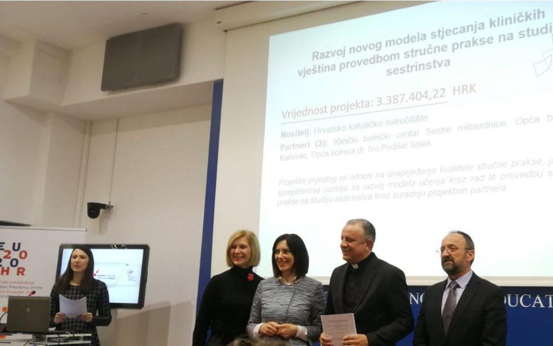 Sredstva za razvoj novog modela stjecanja kliničkih vještina provedbom stručne prakse na studiju sestrinstva