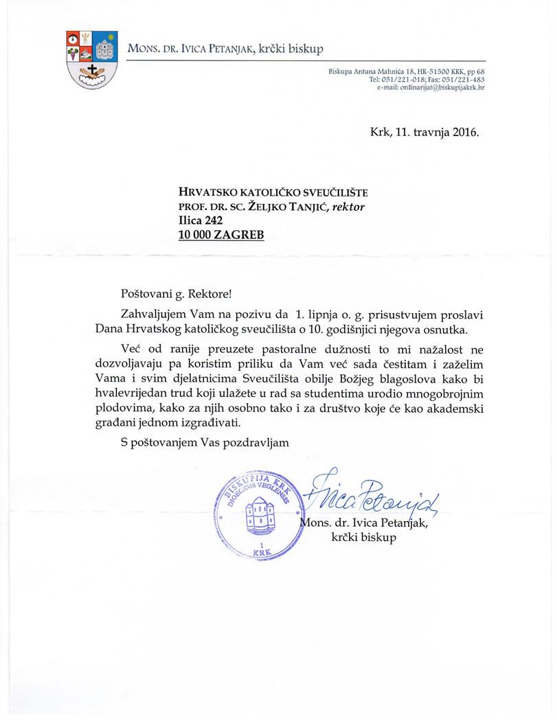 mail čestitke Čestitke 1 6 2016_biskup Petanjak | Hrvatsko katoličko sveučilište mail čestitke